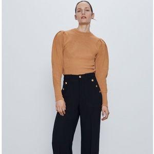 🍂🍁Zara Balloon Sleeve Knit Camel Sweater